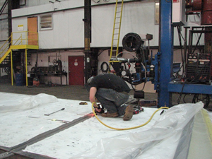 Clean up of a weld joint at Joseph Oat Corporation