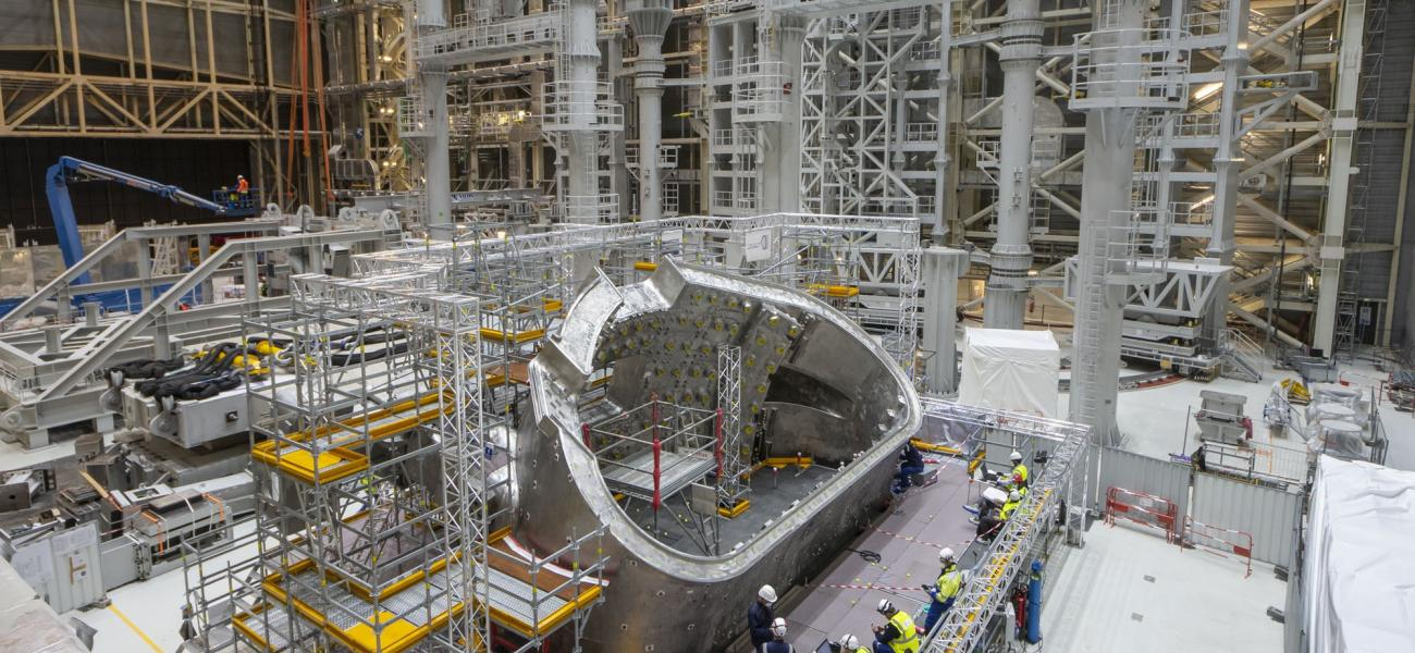 Vacuum vessel sector in ITER assembly hall, October 2020